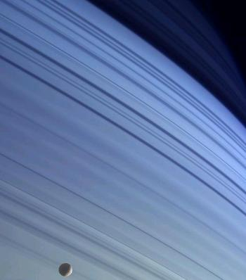 Blue Saturn, Saturn's northern hemisphere from the Cassini spacecraft